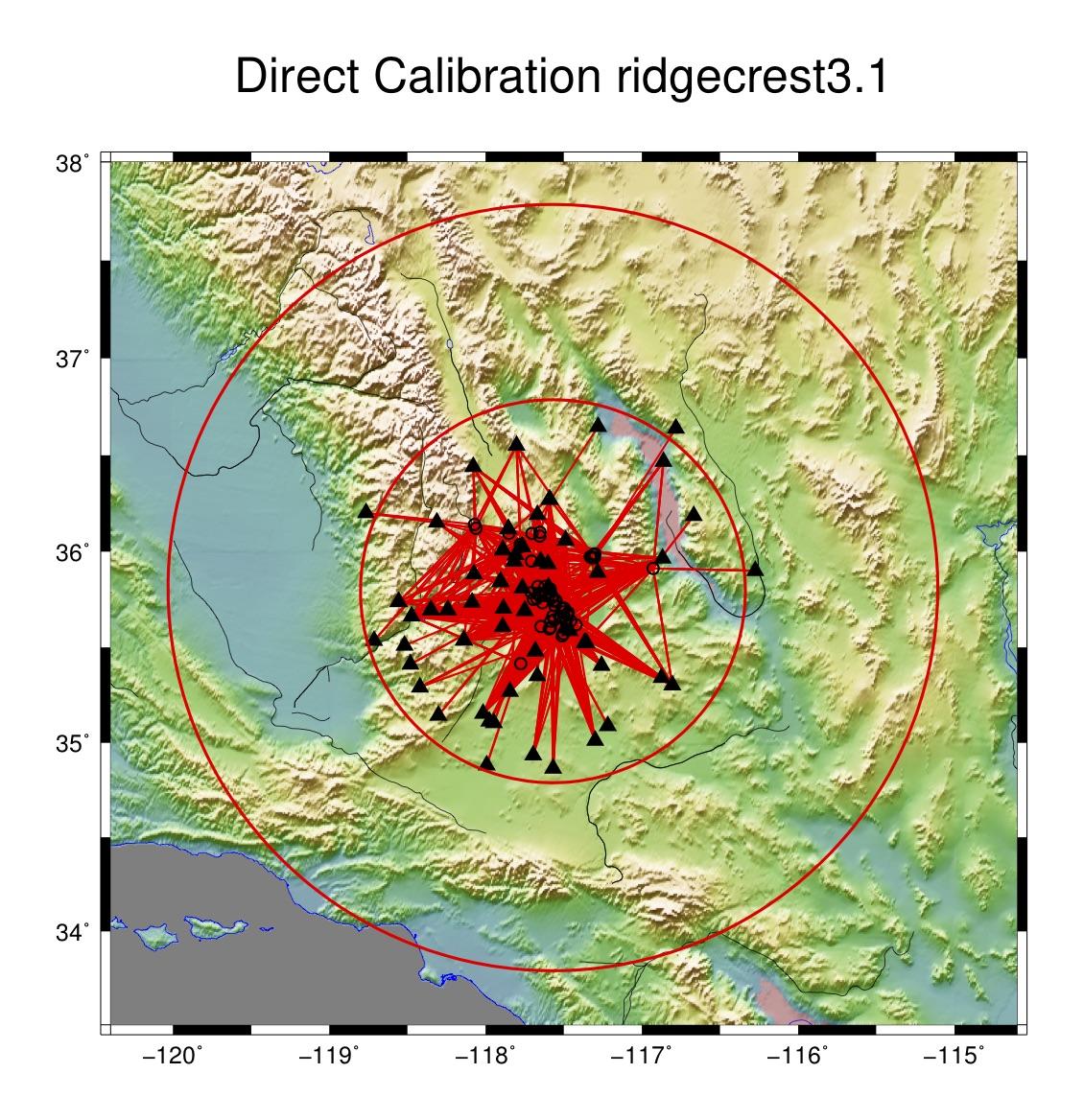 ridgecrest3.1 direct calibration raypath plot